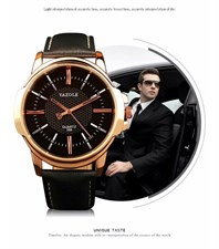 ORIGINAL YAZOLE BUSINESS FORMAL WRIST WATCH FOR MEN-ROSE GOLD CLASSIC