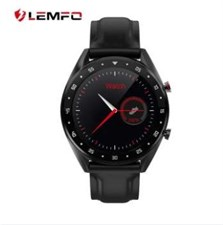 L7 Bluetooth HD Smart watch chronograpgh Style stainless steel Dial with Black Leather Strap